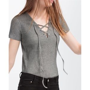 Trafaluc by Zara Lace Up Top